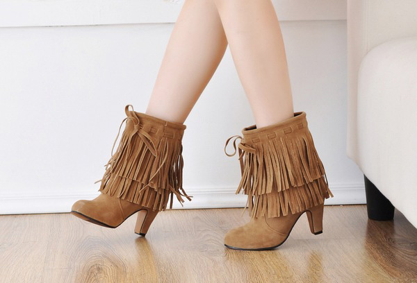 Women Fashion Winter Boots Tassels Round Toe Fine Heels Ankle Short Boots