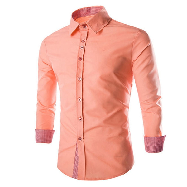 Men Fall Cotton Blended Candy Color Plaid Long Sleeve Button Shirt