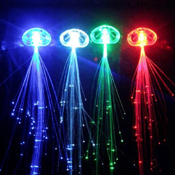 Colorful Flash Optical Fiber LED Hair Braids for Christmas Halloween Decoration Party Holiday
