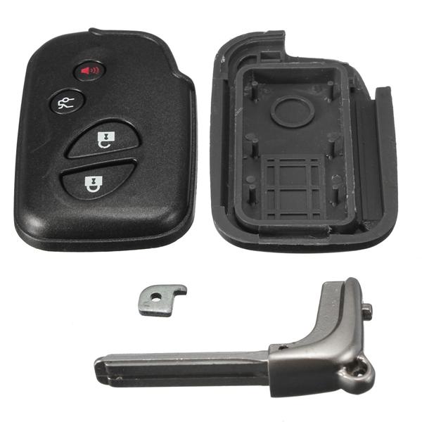 Car Remote Folding Uncut Flip Key Case Shell 4 Buttons Black for Lexus