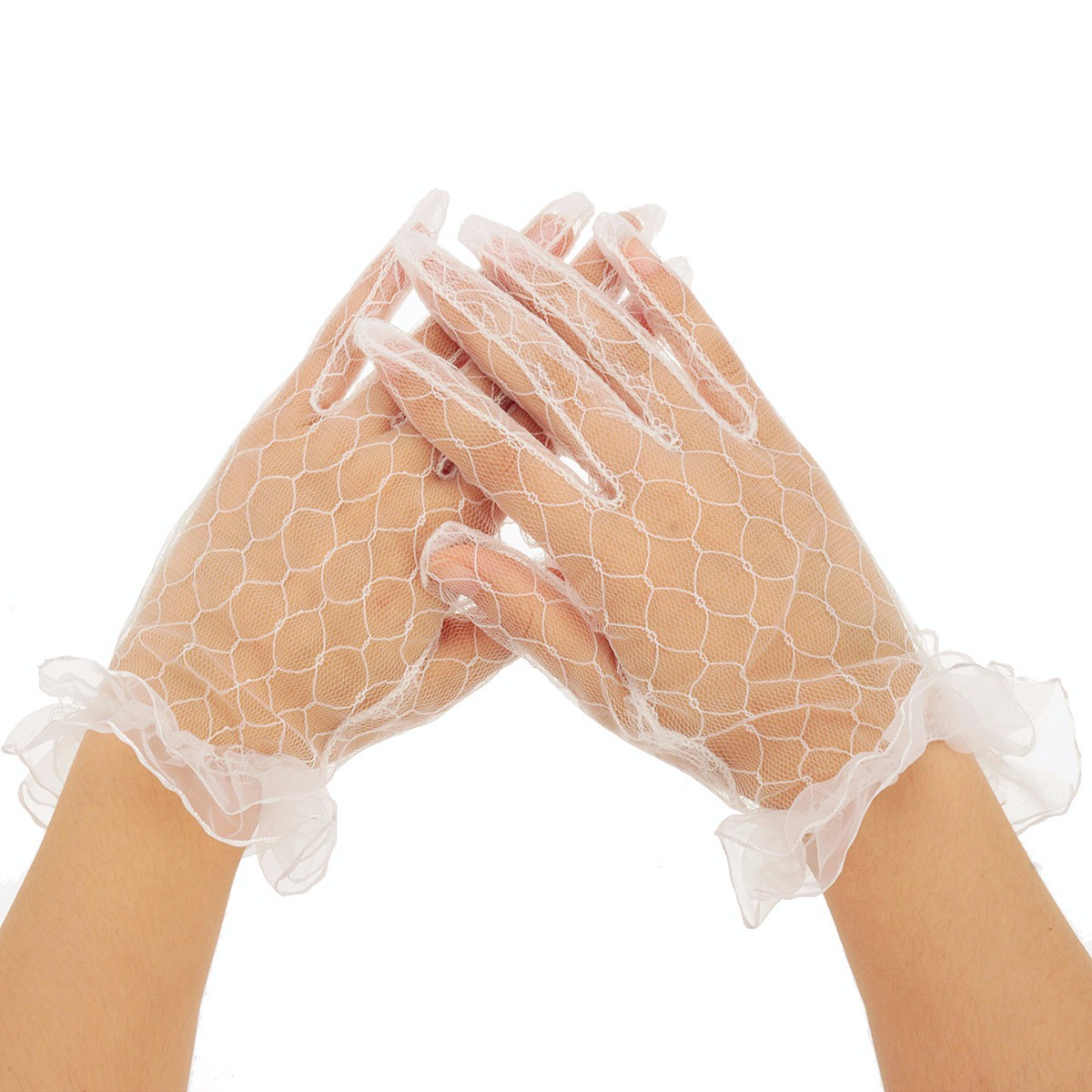 Women Ladies Sexy Finger Lace Transparent Wedding Bridal Cocktail Evening Prom Short Gloves