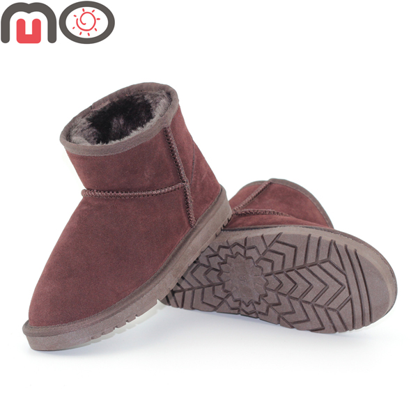 MO New Women Winter Keep Warm Suede Faux Fur Low Heel Flat Ankle Short Shoes Fashion Snow Boots