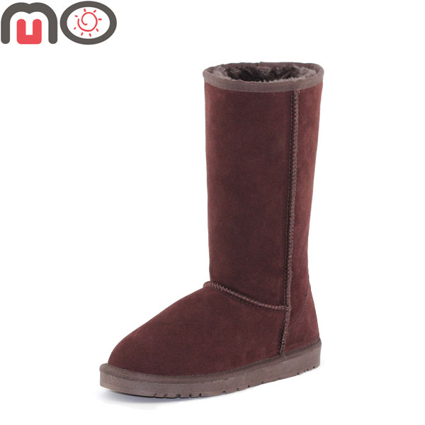 MO New Women Winter Fashion Low Heel Flat Suede Faux Fur Mid-Calf Boots Snow Boots