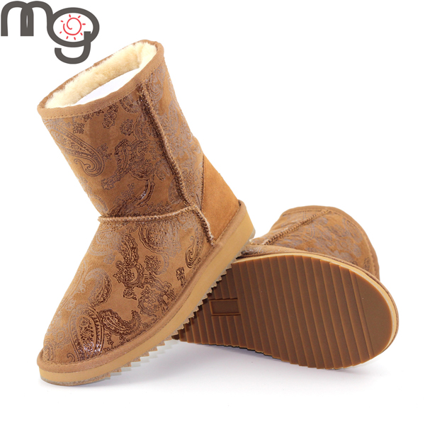 MG New Winter Women Real Sheepskin And Wool Low Heel Shoes Warm Mid Calf Snow Boots