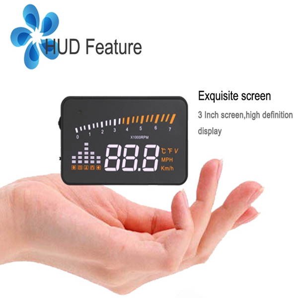 12V 3 Inch X5 Colorful OBD2 HD HUD 3 Inch Screen 9V to 16VPrompter Monitor Vehicle PC Alarm Detector