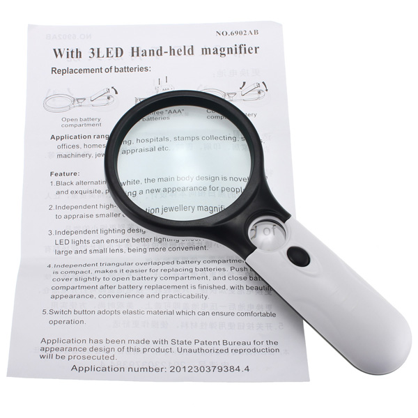 3X 75MM 45X 22MM Magnifier 3 LED Lamp Ergonomic Handle Magnifier Magnifying Reading Aid