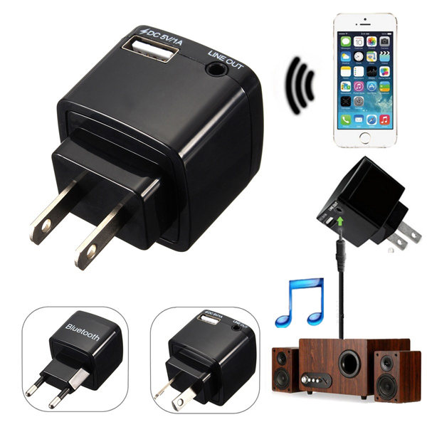 bluetooth 3.0 Audio Aux Music Receiver 3.5mm Adapter Dongle USB Wall Charger For iPhone 6 Plus Samsung Galaxy
