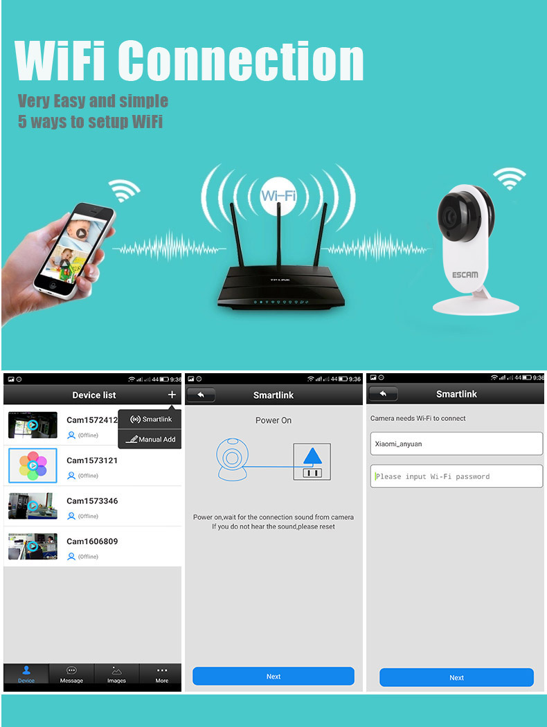 ESCAM Ant QF605 HD WIFI IR-Cut P2P Support IOS/Android Security IP Camera