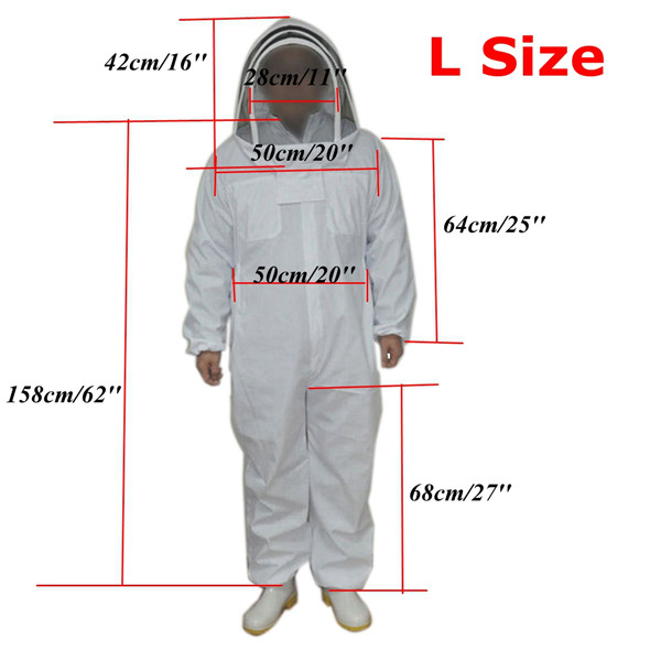 White Cotton Professional Protective Beekeepers Clothing Bee Suit with Fencing Veil 3 Sizes