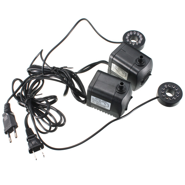 800L/H 210 GPH Submersible Water Pump For Aquarium Fish Tank Pond Fountain With 12 LED Lights