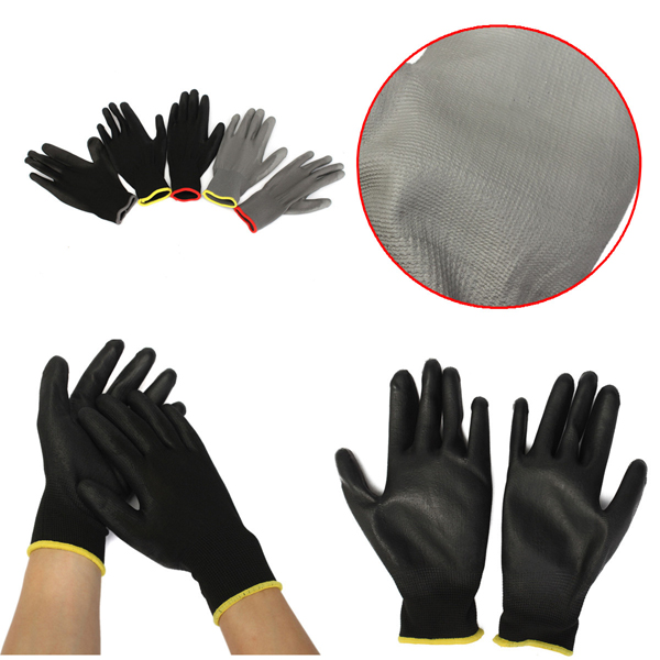 1 Pair PU Palm Coated Nylon Precision Protective Safety Work Gloves Light Weight