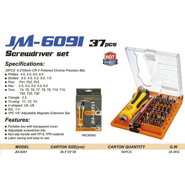 JAKEMY JM-6091 37 in 1 Multifunctional Screwdriver Tool Set Household Hand Mobile Phone Maintenance Kits