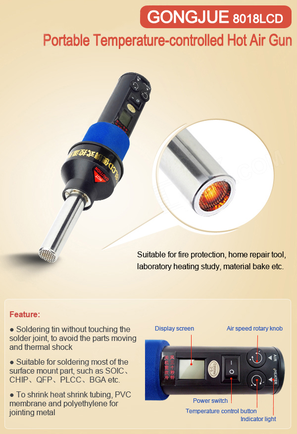 GONGJUE 8018LCD 220V 450 Degree LCD Adjustable Electronic Heat Hot Air Gun