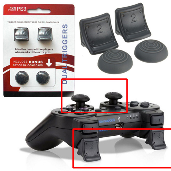 Dual Triggers + Silicone Thumb Grip Cap Cover 4in1 Set For PS3 Controller