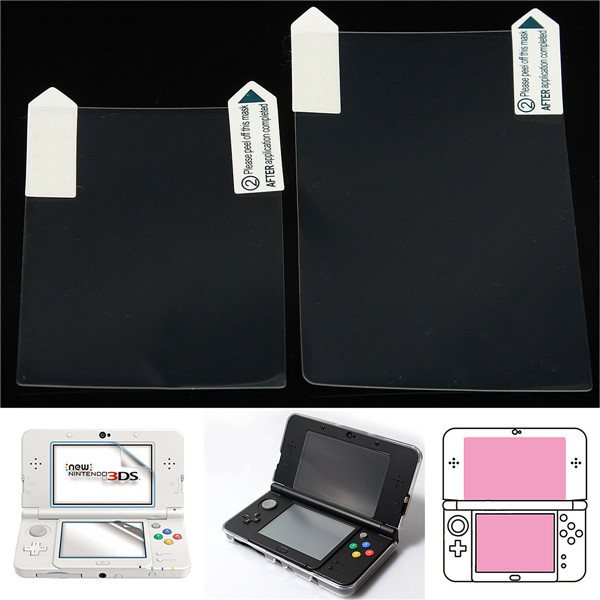 2 in 1 Clear Top & Bottom LCD Screen Protector Cover Film For New Nintendo 3DS