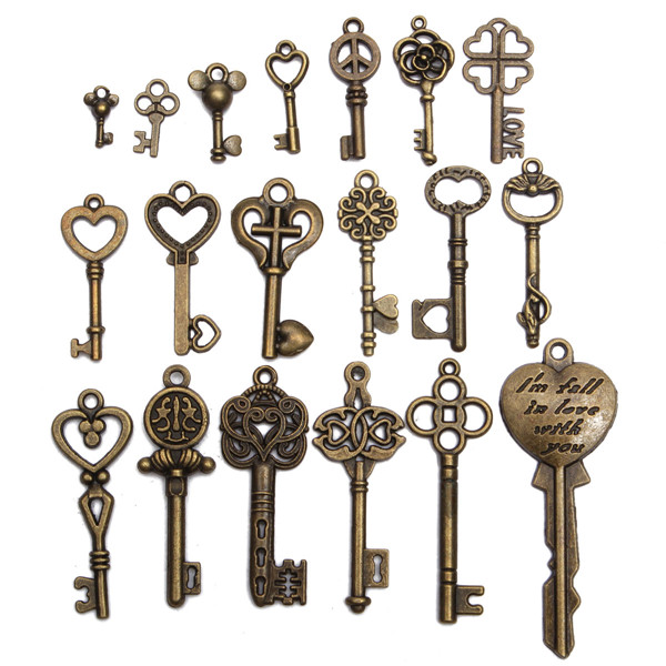 19pcs antique vintage old look skeleton key set lot pendant heart bow lock steampunk jewel