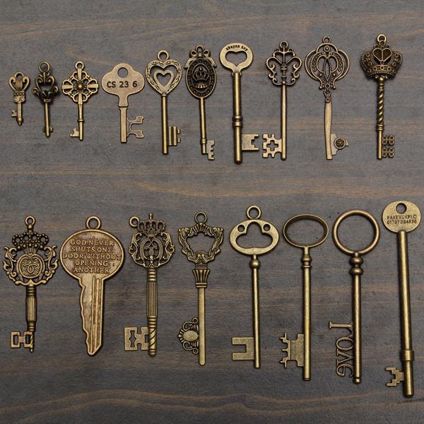 18pcs Antique Vintage Old Look Skeleton Key Lot Pendant Heart Bow Lock