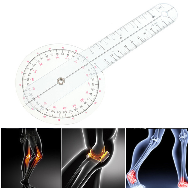 Physio Clear Plastic Goniometer Angle Ruler Joint Bend Measure Measuring