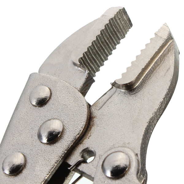 Metal Curved Jaw Vice Grip Locking Vice Mole Grip Plier Clamp Wrench Silver