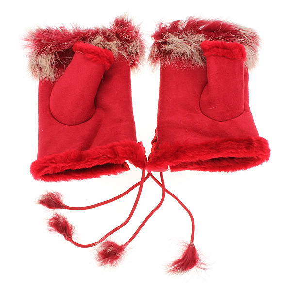 Women Ladies Faux Rabbit Fur Hand Wrist Warmer Velvet Linen Winter Fingerless Gloves