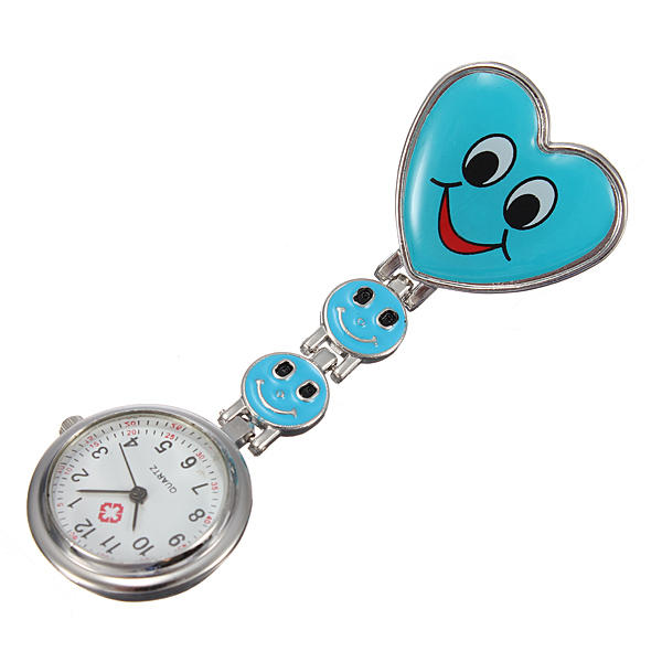 Cartoon Heart Smile Face Clip On Fob Brooch Hang Nurse Watch