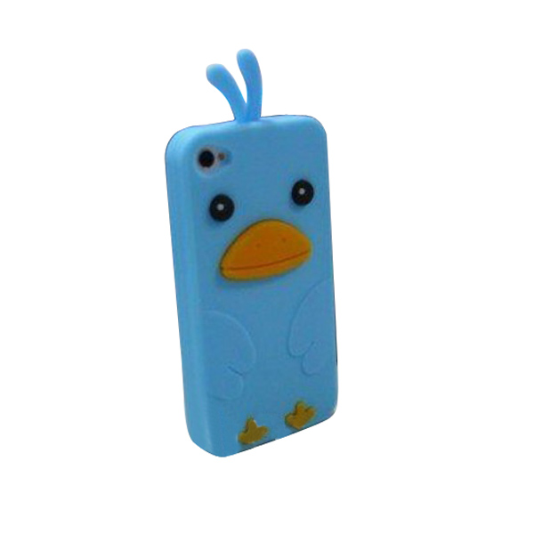 Cartoon Chick Pattern Silicone Protective Case for iPhone 4 4S