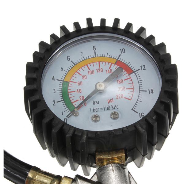 Tire Inflator Dial Pressure Gauge Air Compressor For Car Motorcycle Truck Bike