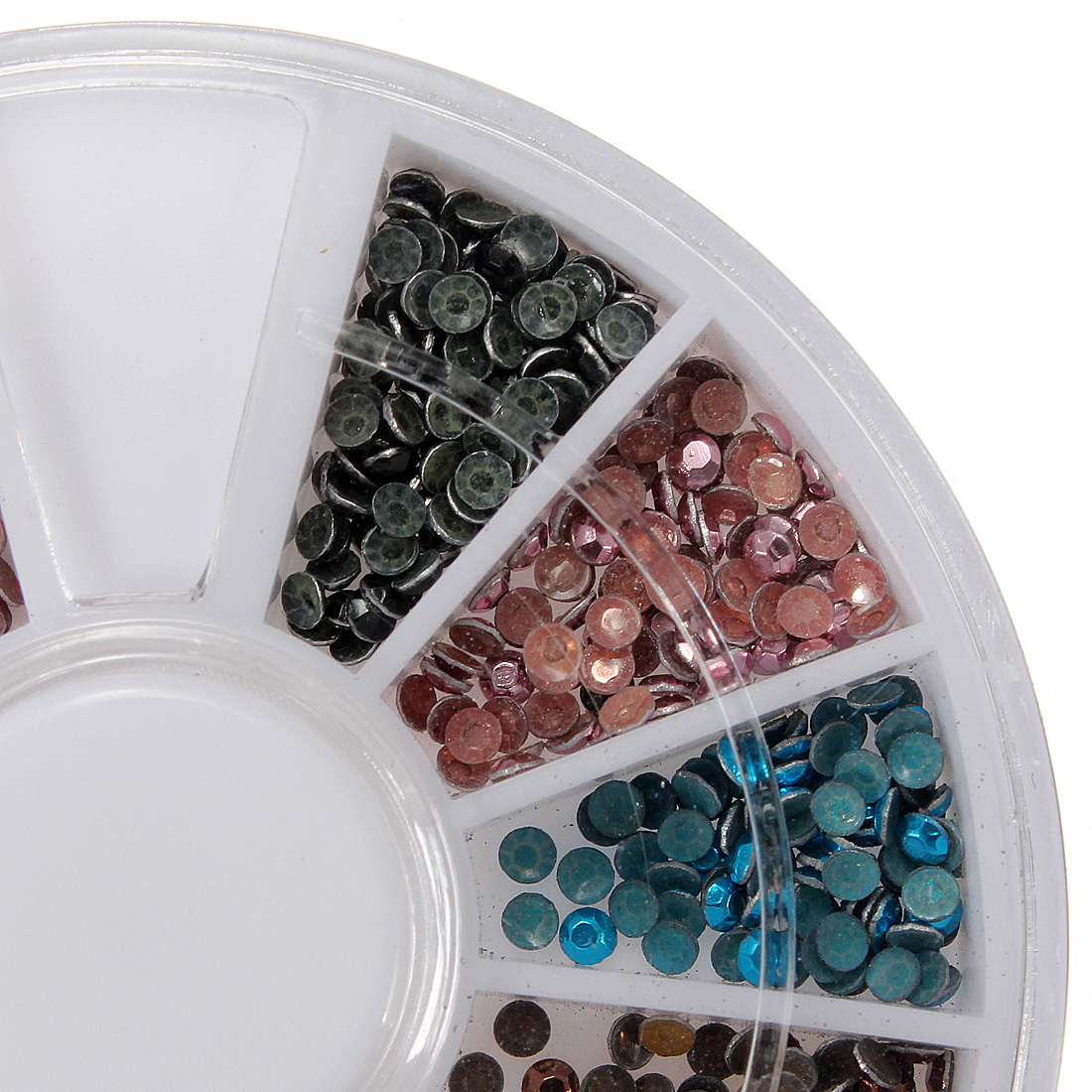 12 Colors Round Flat Back Metallic Bead Nail Art Decoration Wheel