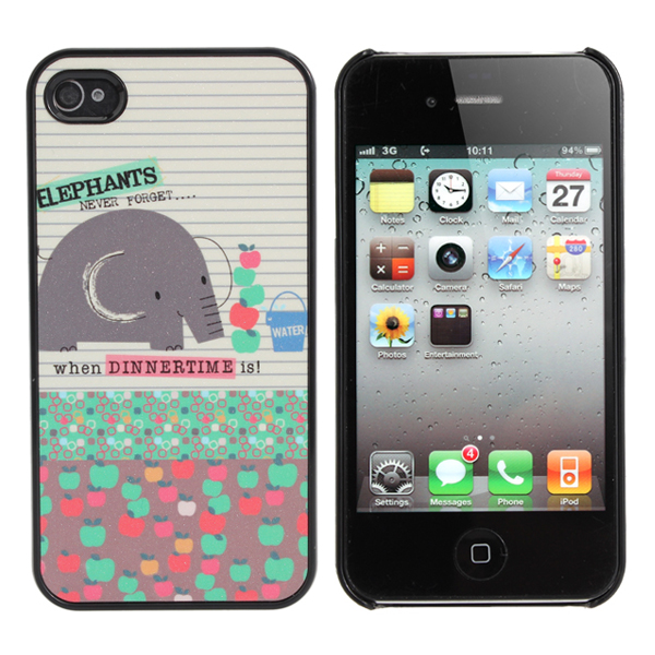 Colorful Cute Cartoon Elephant Case For iPhone 4 4S