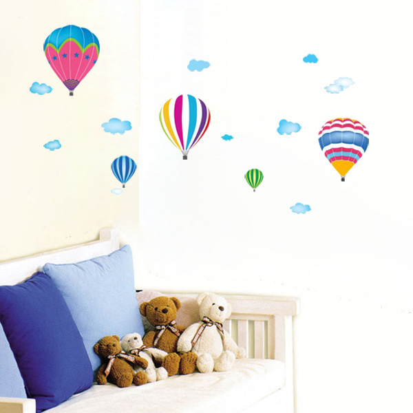 60X33CM Kids Room House Decorative Poster Fire Balloon Wall Sticker
