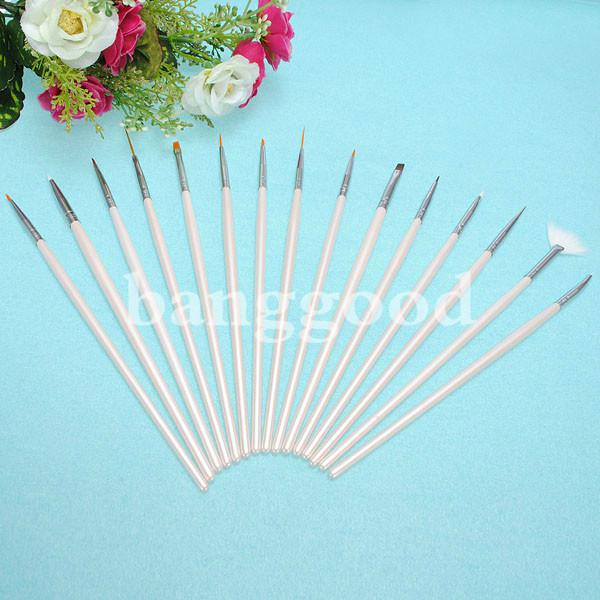 20pcs Nail Art Design Dotting Painting Pen Brush Set Faux Leather Case