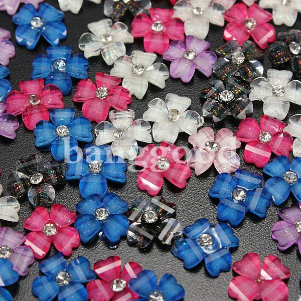 3D Clover & Flower Acrylic Glitter Rhinestones Nail Art Stickers