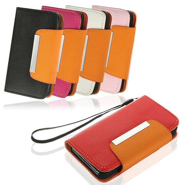 Litchi Pattern Magnetic Folio Wallet PU Leather Case For iPhone 4 4S