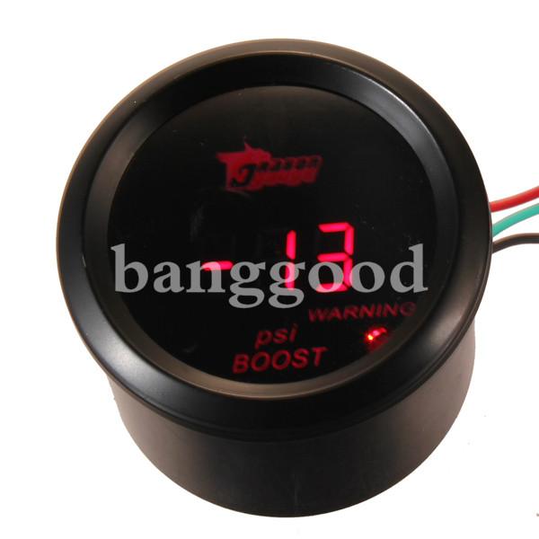 52mm 15 - 45 PSI Red Digital LED Black Boost Gauge Car Motor