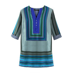 Lady  Vintage V Neck National Secessionism Printed Geometry Dress