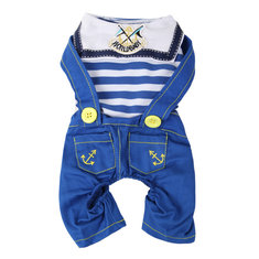 Pets Dogs Naval Uniform Navy Sailor Suit Stripe Pattern Overalls Clothes
