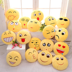 Cute Emoji Expression Throw Pillow Stuffed Plush Sofa Bed Cushion for Home