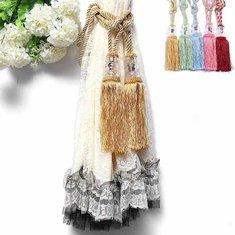 1 Pair Crystal Beaded Tassels Tie Back Curtain Cord 6 Colors