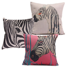 Cotton Linen Cute Animal Zebra Throw Pillow Cases Home Sofa Office Cushion Cover
