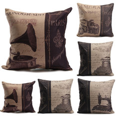 Nostalgic Phonograph Typewriter Sewing Machine Camera Pillow Case Sofa Cushion Cover