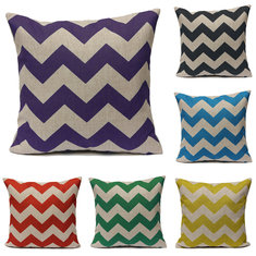 Waves Pattern Linen Pillowcases Home Decorate Sofa Cushions