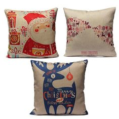 Christmas Print Pillow Case Santa Claus Reindeer Cushion Cover
