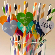 25 PCS Colorful Paper Biodegradable Drinking Straws