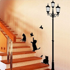 23x40CM Lamp Cat Wall Stickers Home Stairs Sticker Decor Decorative Removable Wallpaper