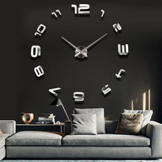 3D Large Sliver Modern DIY Home Decor Mirror Wall Clock Sticker