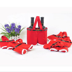 Red Nylon Santa Pants Candy Bags For Christmas Gift Multifunction Bar Accessories
