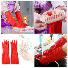 Waterproof Lengthen Latex Dishwashing Cleaning Gloves 38CM Antiskid