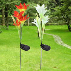 Solar 4 LED Lily Flower Light Outdoor Garden Lawn Color Changing Lamp