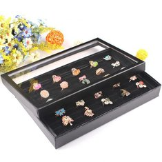 Black 100 Slots Rings Holder Box Tray Show Case Jewelry Display