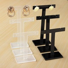 3Pcs T Shape Earrings Display Stand Plastic Jewelry Display Holder